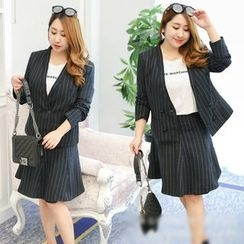 Inopine - Set: Striped Double-Breasted Blazer + A-Line Skirt