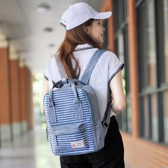 SUPER LOVER - Striped Panel Canvas Backpack