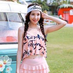 Sewwi - 套裝: 字母印花坦基尼泳衣上衣 + 泳裙