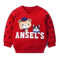 Ansel's - 童装圆点卡通印花V领卫衣
