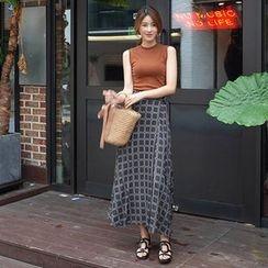 mimi&didi - Band-Waist Wrap-Front Pattern Long Skirt