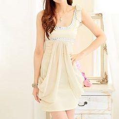 Rocho - One-Shoulder Rhinestone Party Dress