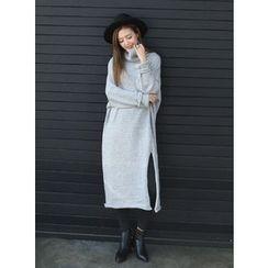 BBAEBBAE - Turtleneck Slit-Side Knit Dress