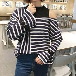 CosmoCorner - Mock-Two Off-Shoulder Striped Loose-Fit Long Sleeve T-Shirt