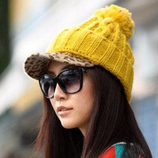 59 Seconds - Leopard-Cap Pompom Beanie