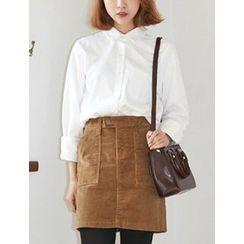 FROMBEGINNING - Long-Sleeve Pocket-Front Shirt