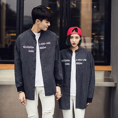 Evolu Fashion - Couple Matching Lettering Shirt Jacket