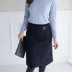 CLICK - Wool Blend Eyelet-Detail Skirt
