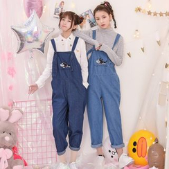 Moriville - Dog Embroidered Loose Fit Dungarees