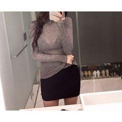 Marlangrouge - Band-Waist Ribbed Knit Mini Skirt