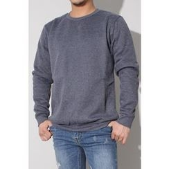 Ohkkage - Colored Round-Neck Fleece-Lined T-Shirt