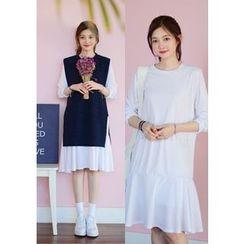 DEEPNY - Set: Sleeveless Long Knit Top + Long-Sleeve Ruffle-Hem Dress