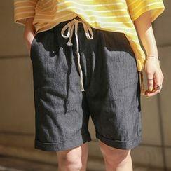 Envy Look - Drawstring-Waist Cuff-Hem Shorts