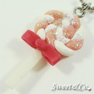 Sweet & Co. - Sweet Pink Candy Lollipop Glitter Necklace