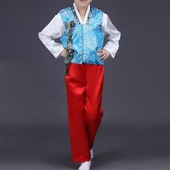 Willow Tree - Kids Set: Korean Hanbok Top + Vest + Pants