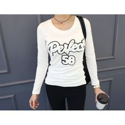 DANI LOVE - Round-Neck Lettering Embroidered T-Shirt