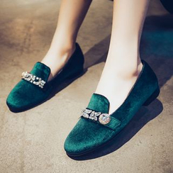 JY Shoes - Rhinestone Genuine Leather Loafers