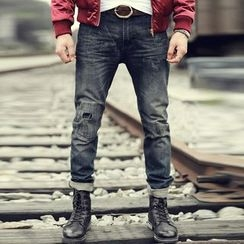 Mannmix - 拼布直筒牛仔裤