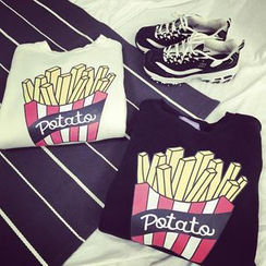 Kikiyo - 長袖薯條印花 T 恤
