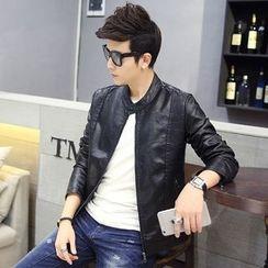YamYork - Faux-Leather Zip Jacket