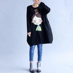 Carabecca - Cartoon Print Loose Fit Long Sleeve T-Shirt Dress