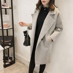 Little V - Notch Lapel Woolen Coat
