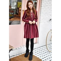 GOROKE - Tassel-Neck Gathered-Waist Patterned Dress