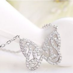 Zundiao - Sterling Silver Rhinestone Butterfly Necklace
