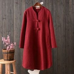 HANIA - Frog Button Long-Sleeve Long Jacket
