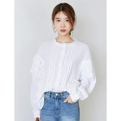 FROMBEGINNING - Eyelet-Lace Frilled Blouse