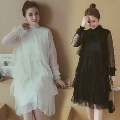 Munai - Long-Sleeve Mock-Neck Layered Dress