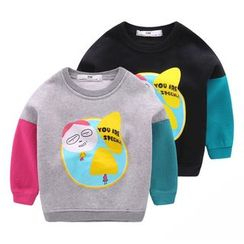 lalalove - Kids Print Panel Fleece-lined Sweatshirt