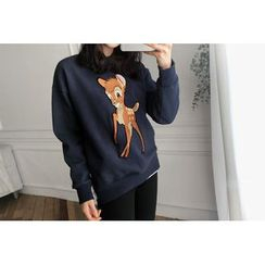 UPTOWNHOLIC - Round-Neck Embroidered Pullover