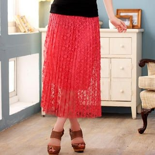 JK2 - Lace-Overlay Long Skirt