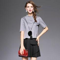 欧依潮派 - 套装: 短袖上衣 + 无袖拼接饰褶连衣裙