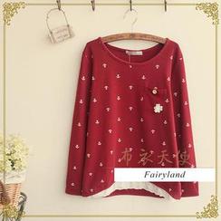 Fairyland - Eyelet Lace Hem Anchor Print T-Shirt