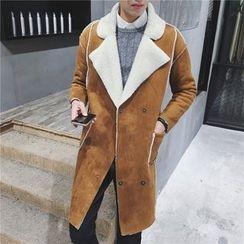 百高 - 抓毛領長款大衣