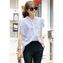 REDOPIN - Ruffle-Sleeve Striped Shirt