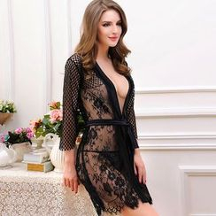 Sophine - Lace-Trim Sheer Robe with Panties