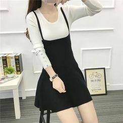 Arroba - A-Line Knit Pinafore Dress