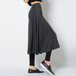 FASHION DIVA - Inset Midi Flare Skirt Leggings