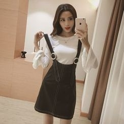 Ashlee - Set: Frill Sleeve Knit Top + Faux Leather Suspender Dress
