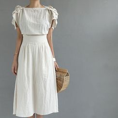 STYLEBYYAM - Linen Frill Trim-Sleeve A-Line Midi Dress