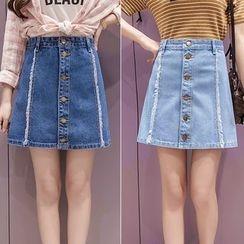 Rosehedge - Buttoned A-Line Denim Skirt