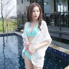Tokyo Fashion - Pointelle Knit 3/4-Sleeve Cardigan