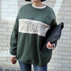 Seoul Fashion - Round-Neck Color-Block Printed T-Shirt