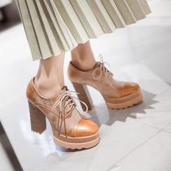 錦洋鞋業 - 拼接粗跟牛津鞋