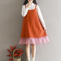 Kiche - Wool Blend Paneled Jumper Dress