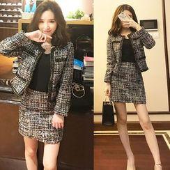 Trinie - Set: Tweed Jacket + Mini Skirt