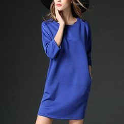 Mythmax - 3/4-Sleeve Plain Shift Dress